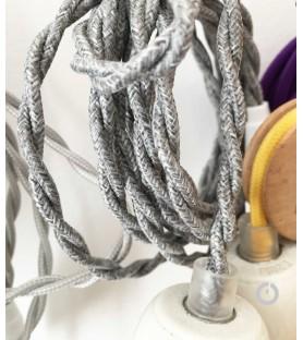 Baladeuse cable textile tresse en lin et douille porcelaine