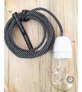 Baladeuse cable textile noir effet 3D et douille porcelaine