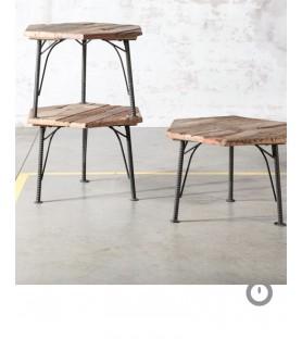 """Set de 3 tables bois recyclé """"F béton"""""""
