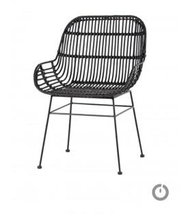 "Chaise métal Rotin Naturel accoudoirs ""Amante"""