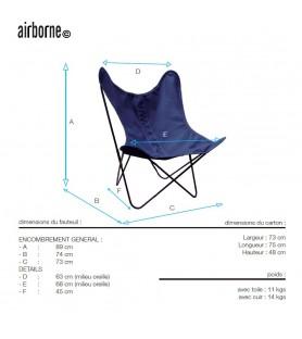 fauteuil aa en coton bleu marine