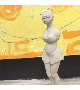 """Sculpture en platre """"Pas vue ! Pas prise"""""""