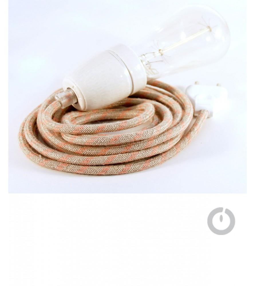 Baladeuse cable textile lin zig zag rose et douille porcelaine