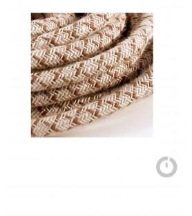 Baladeuse cable textile lin zig zag marron et douille porcelaine