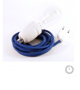 Baladeuse cable textile bleu foncé et douille porcelaine