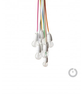 Baladeuse cable textile bordeaux et douille porcelaine
