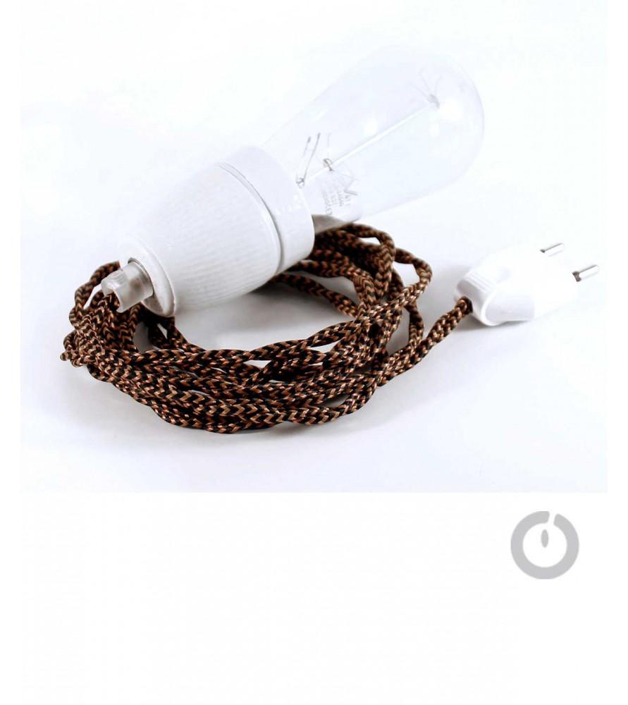 Baladeuse cable textile tresse black whiskey et douille porcelaine