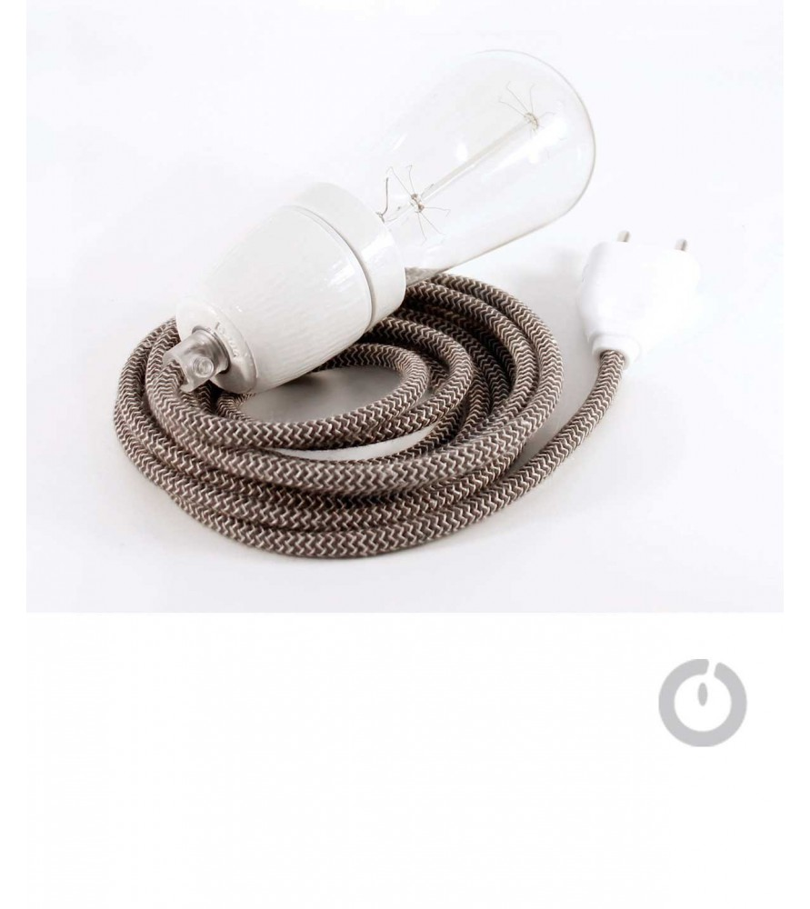 Baladeuse cable textile lin marron zig zag crème et douille porcelaine