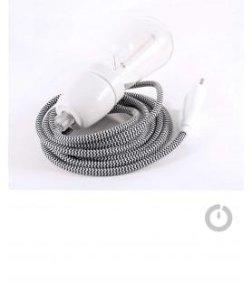 Baladeuse cable textile chiné noir et blanc et douille porcelaine
