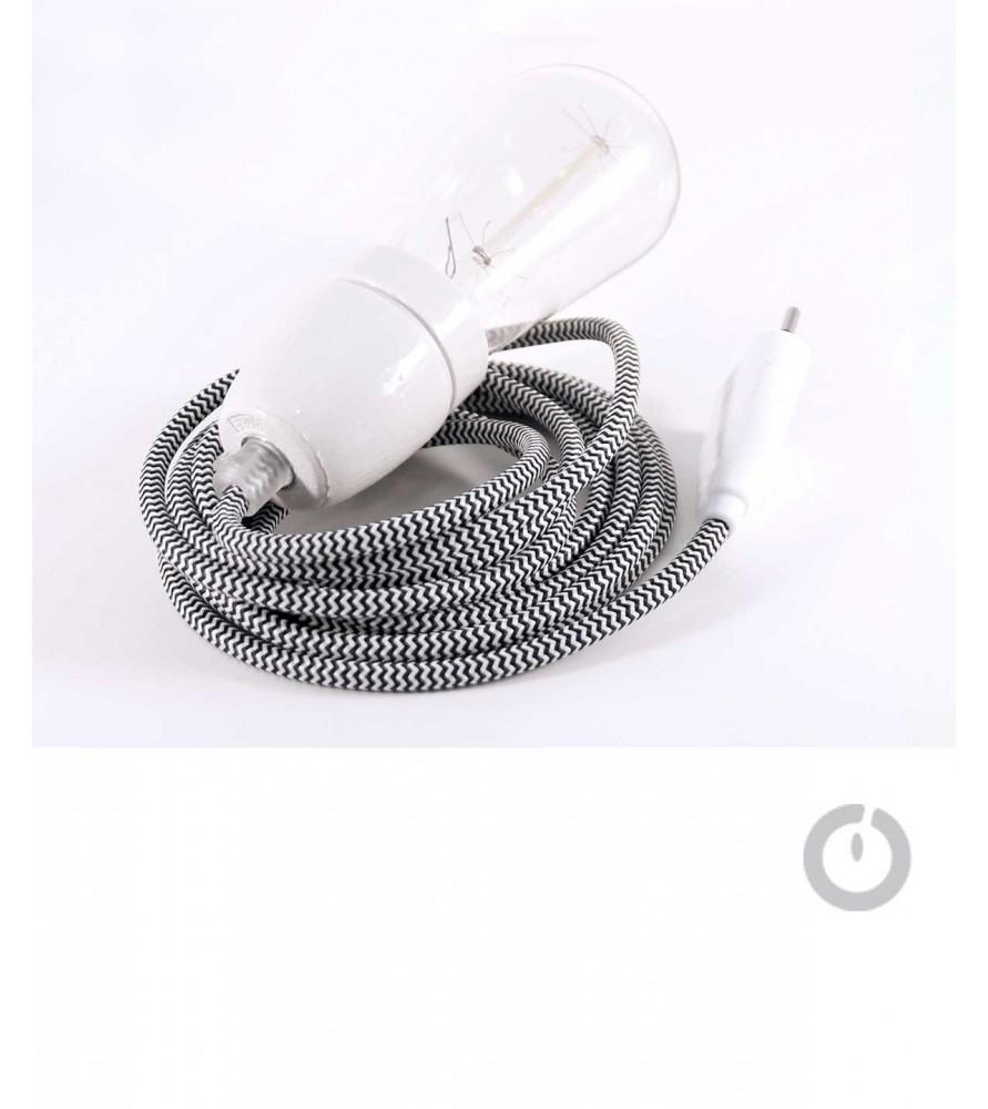 Baladeuse cable textile chine noir et blanc et douille porcelaine