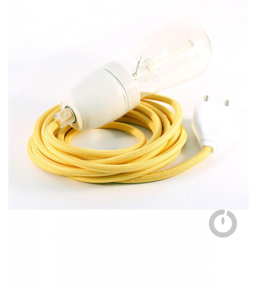 Baladeuse cable textile jaune et douille porcelaine