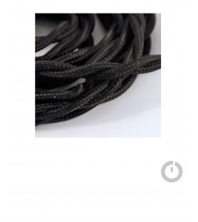 Baladeuse cable textile tresse noir et douille porcelaine