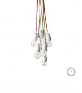 Baladeuse cable textile rose et douille porcelaine