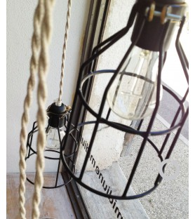 Lampe suspension baladeuse industrielle cage metal